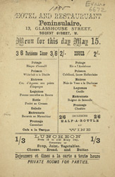 Advert for the Peninsulaire Hotel & Restuarant